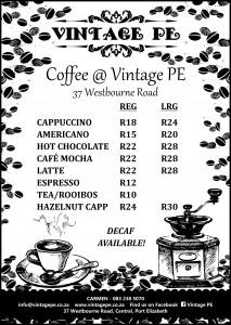 Vintage PE - Coffee Shop Menu - August 2016